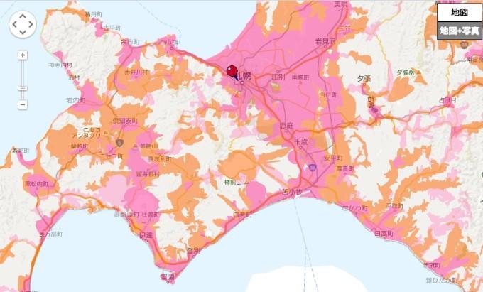 ドコモエリアマップ 北海道