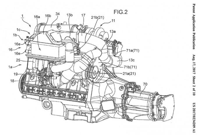 ツインターボと電動過給器付きエンジン
