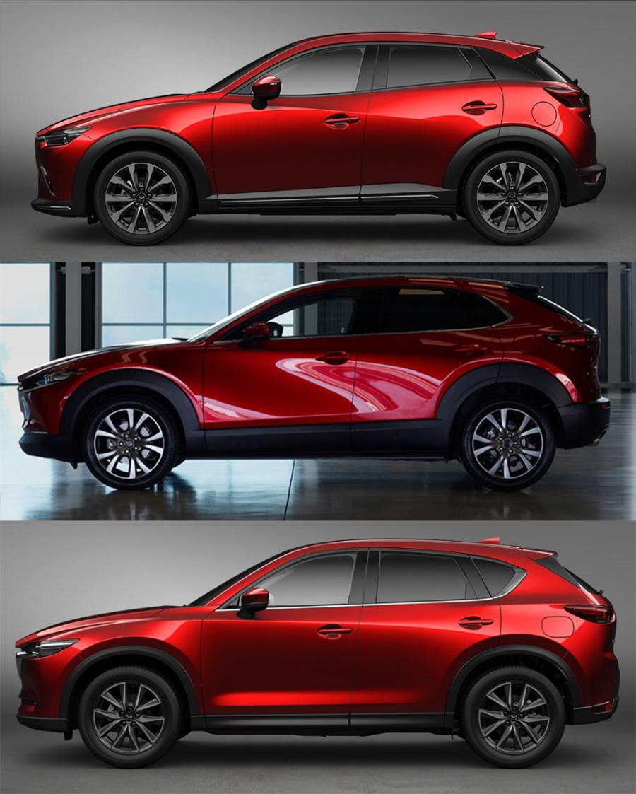 CX-3、Mazda3、CX-5の室内寸法比較