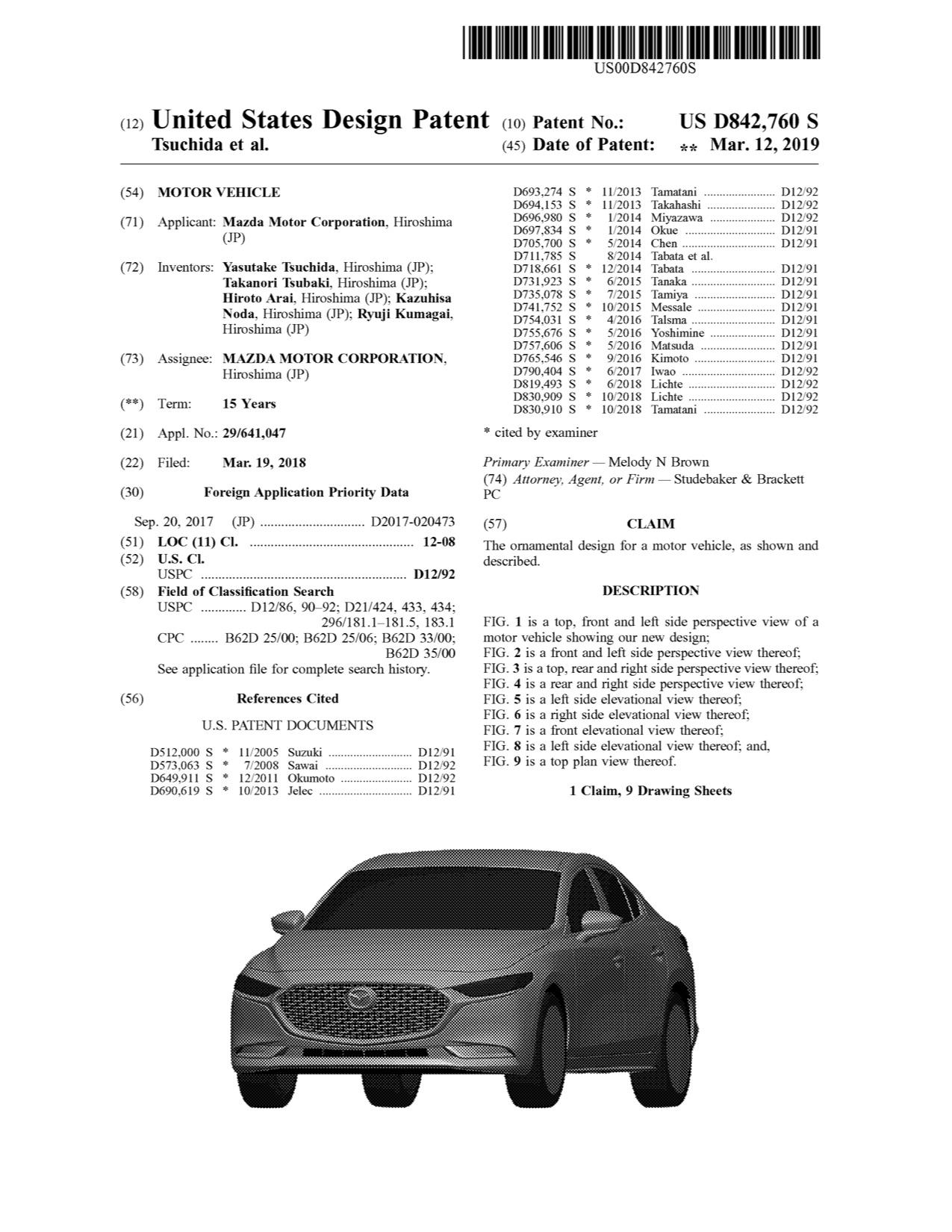 マツダ、米国で新型Mazda3セダンのデザインパテントを取得