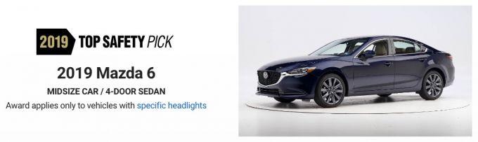 2019 Mazda6、2019トップセーフティピックを獲得