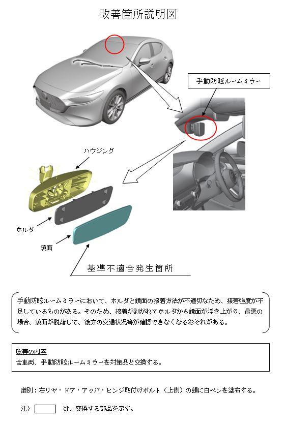 リコール:Mazda3の手動防眩ルームミラー脱落のおそれ