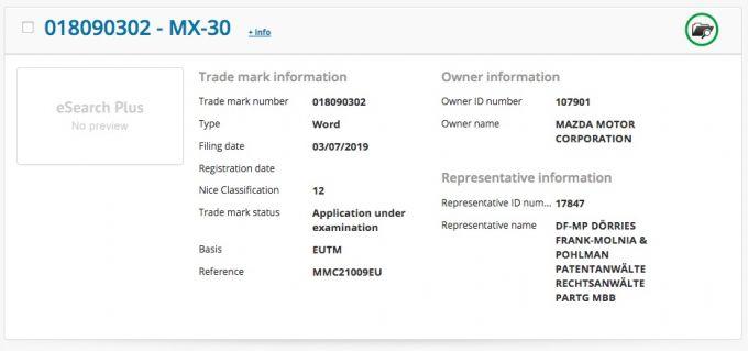 マツダ、EU域内で「MX-30」を商標出願