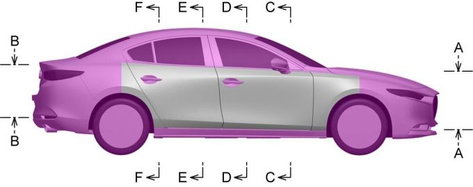 Mazda3の断面形状とシグネチャーウィングを意匠登録