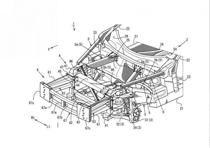 マツダ、ダブルウィッシュボーンサスを含む車両の衝撃吸収構造で特許を出願