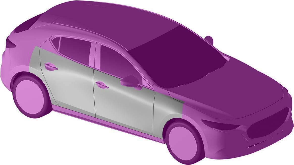 マツダ、Mazda3ファストバックの断面形状を意匠登録
