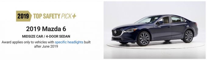 Mazda6、2019トップセーフティピック+を獲得