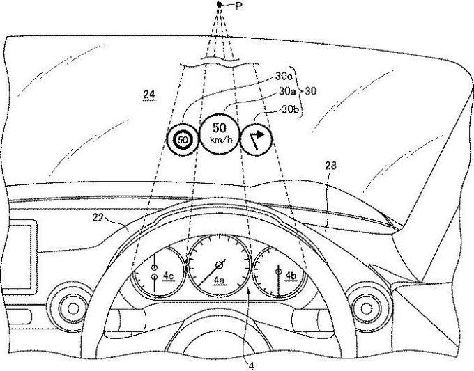 マツダ、自車位置を正確に把握できるHUDの特許を出願