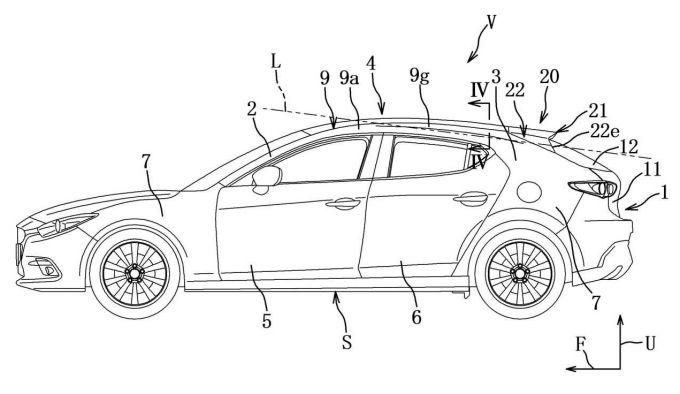 マツダ、Mazda3 FBのルーフスポイラの構造で特許を出願