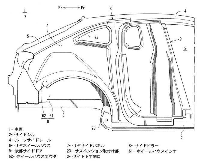 マツダ、フリースタイルドアを考慮した車体構造の特許出願
