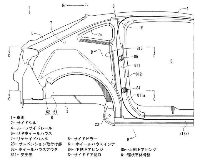 マツダ、フリースタイルドアに対応した車体構造の特許出願