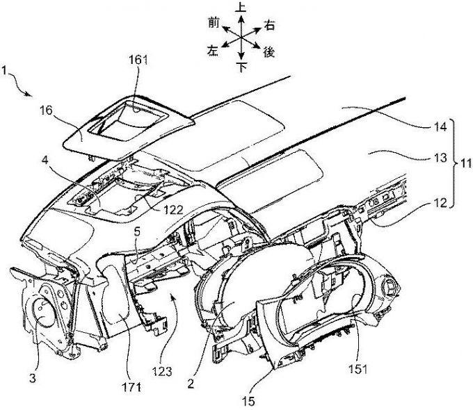 マツダ、HUD装置を備えた車両の内装構造に関する特許を取得