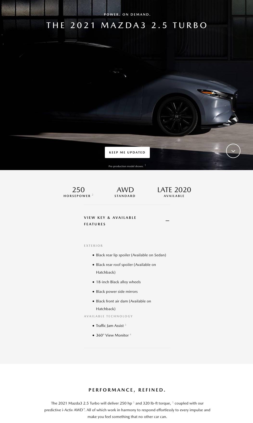 北米マツダも2021 Mazda3ターボモデルを発表