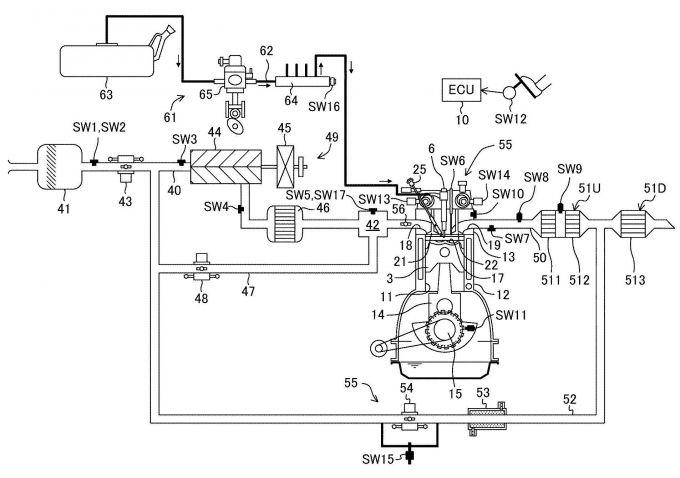 マツダ、SPCCI燃焼が可能なエンジンに関する特許を出願
