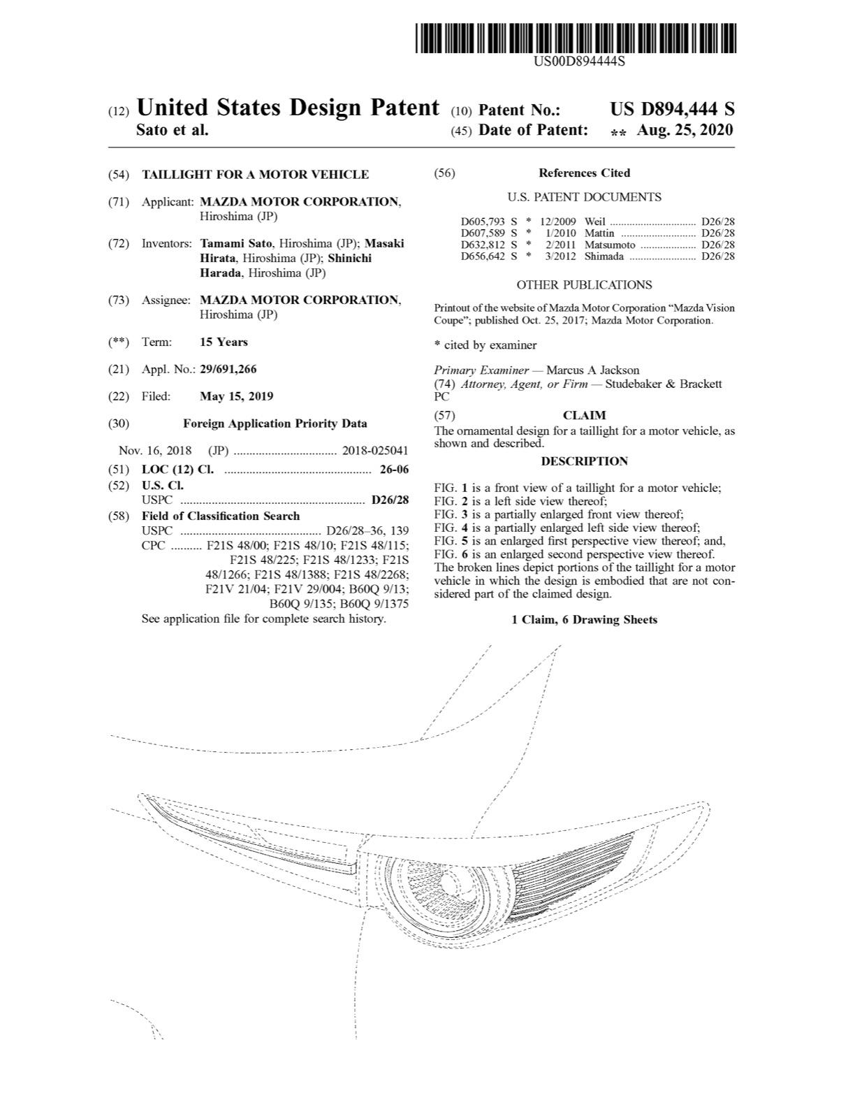 マツダ、米国でCX-30の灯火類のデザインパテントを取得