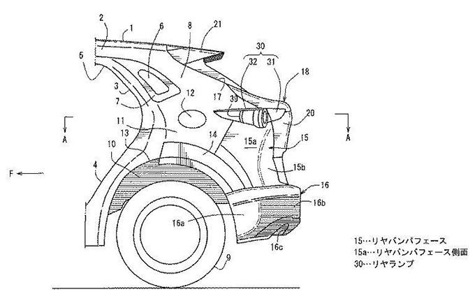 マツダ、CX-30などSUVの車両の後部構造の特許を出願