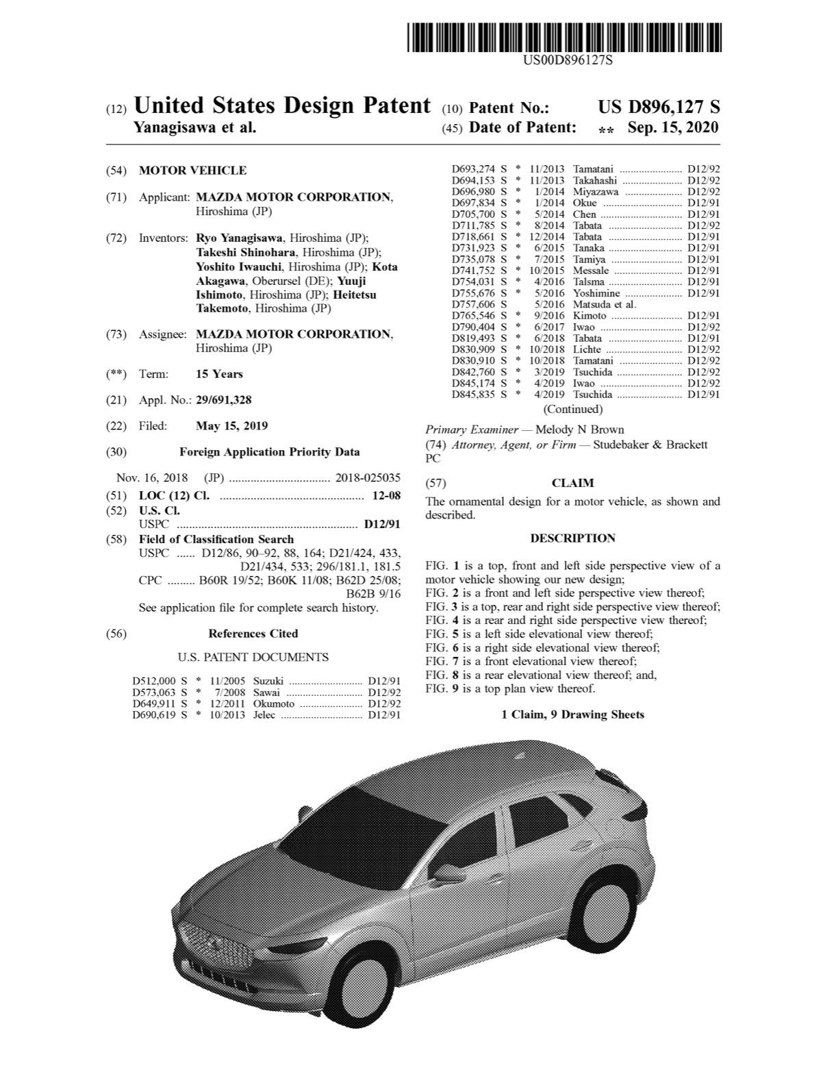 マツダ、米国でCX-30のエクステリアデザインを意匠登録