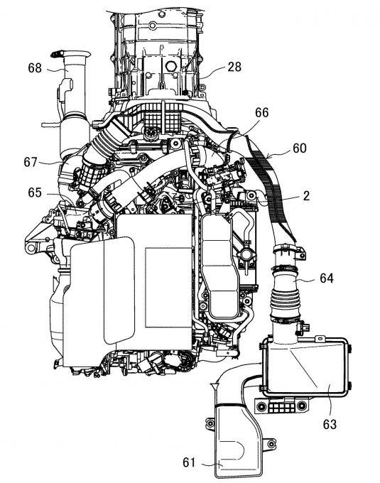 マツダ、縦置きエンジンの吸気装置に関する特許を出願