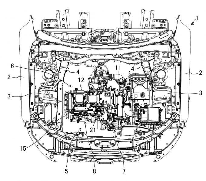 マツダ、車両の高電圧機器支持構造で特許を出願
