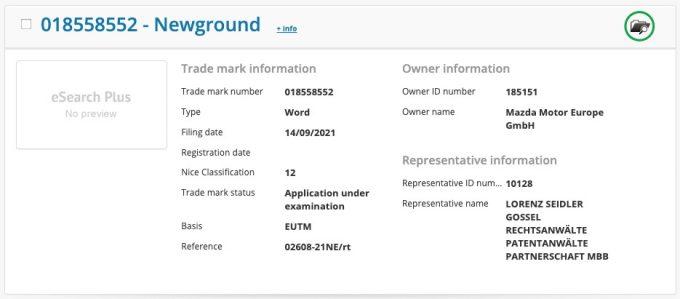 マツダ、EU域内で「Newground」を商標出願