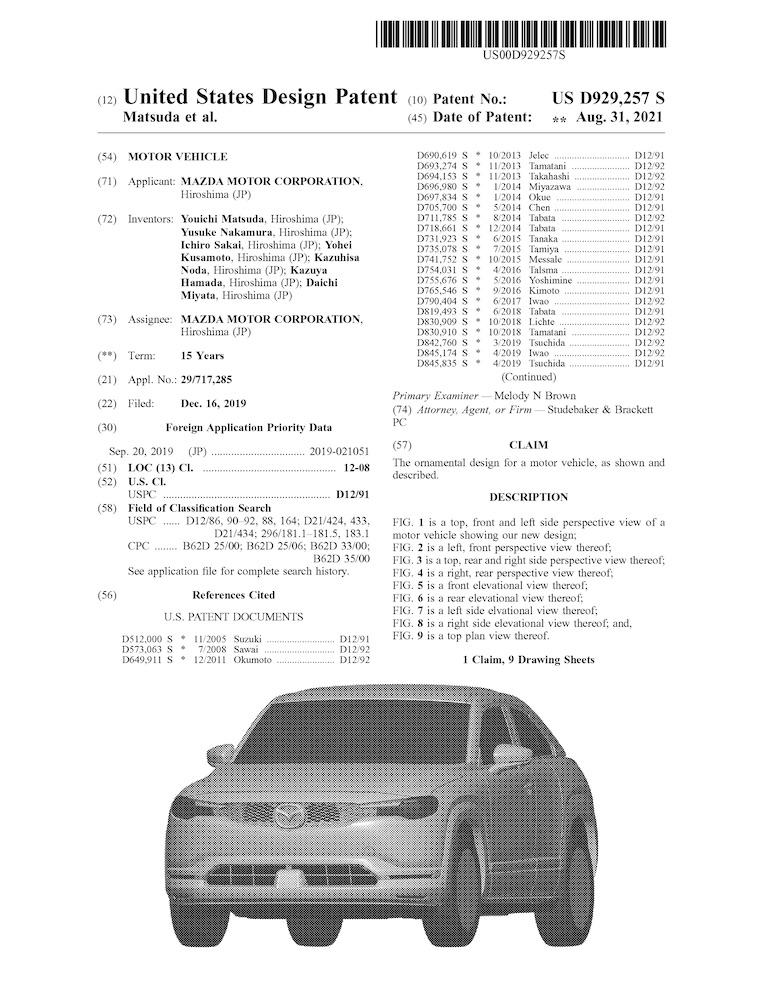 マツダ、米国でMX-30のエクステリアデザインを意匠登録