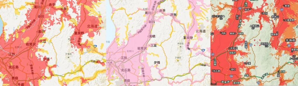 北海道の3Gエリア